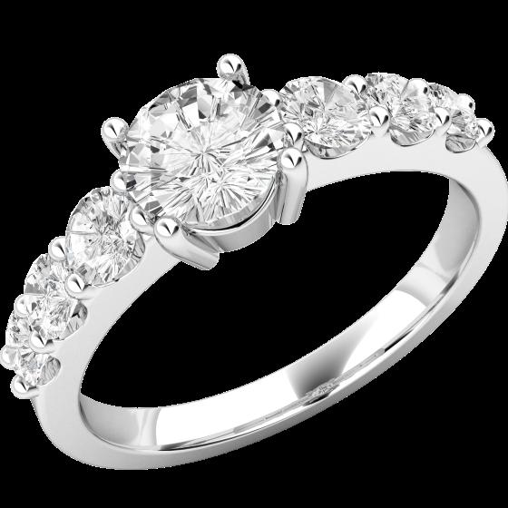 Solitär Verlobungsring mit Schultern/Multi-Stein Verlobungsring für Dame in 18kt Weißgold mit 7 runden Brillanten-img1