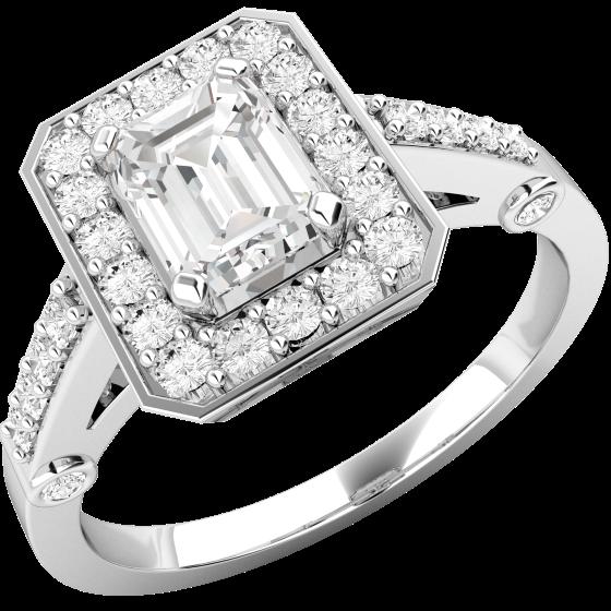 Cocktail Ring mit Diamanten/Verlobungsring im Cluster Stil für Dame in 18kt Weißgold mit einem Smaragd Schliff Diamanten in der Mitte und runden Brillanten-img1