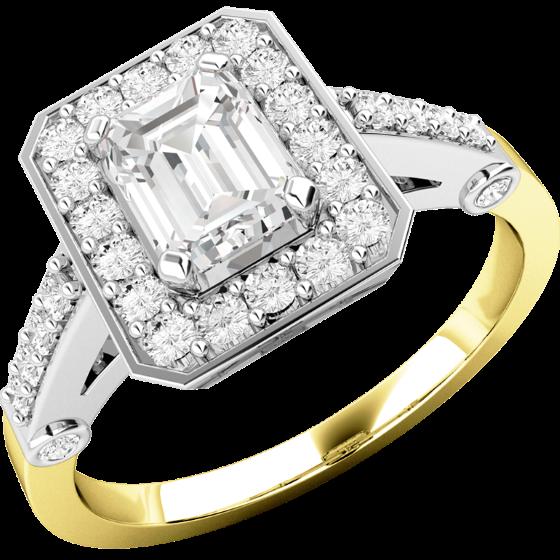 Cocktail Ring mit Diamanten/Verlobungsring im Cluster Stil für Dame in 18kt Gelbgold und Weißgold mit einem Smaragd Schliff Diamanten in der Mitte und runden Brillanten-img1