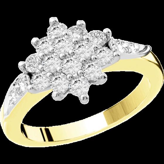 Verlobungsring im Cluster Stil für Dame in 18kt Gelbgold und Weißgold mit runden Brillanten-img1