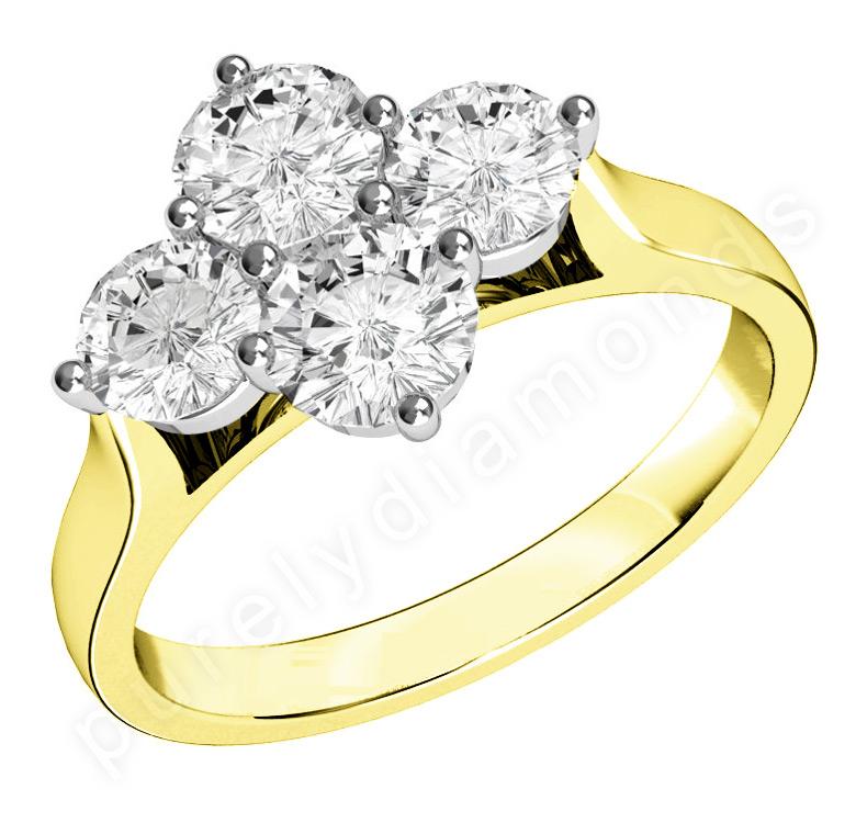 Inel Cocktail/Inel de Logodna cu Diamante Dama Aur Galben si Aur Alb 18kt cu 4 Diamante Rotund Briliant-img1
