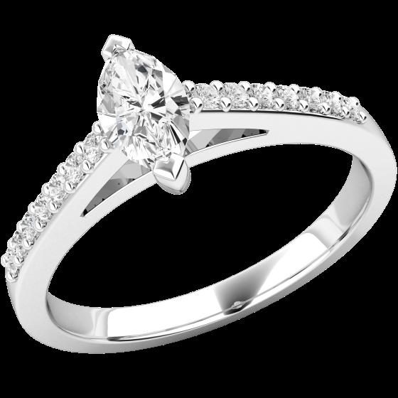 Solitär Verlobungsring mit Schultern für Dame in Platin mit Marquise Schliff Diamanten in der Mitte und runden Brillanten auf den Schultern-img1