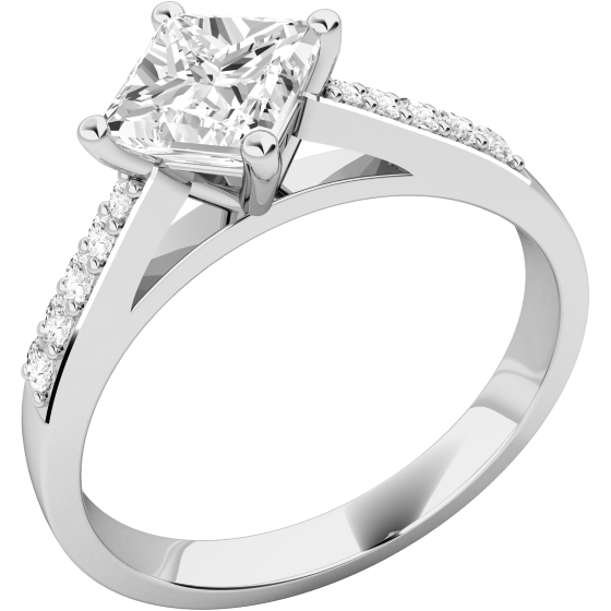 Solitär Verlobungsring mit Schultern für Dame in 18kt Weißgold mit einem Princess Schliff Diamanten und Brillanten-img1
