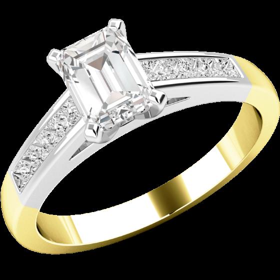 Solitär Verlobungsring mit Schultern für Dame in 18kt Gelb und Weißgold mit einem zentralen Smaragd-Schliff Diamanten und Princess Schultern-img1