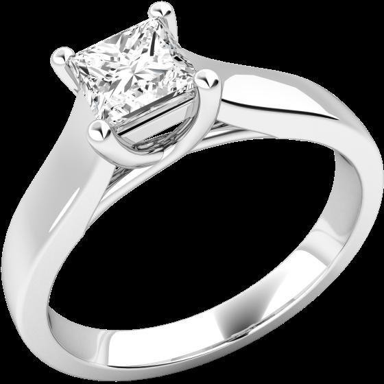 Solitär Verlobungsring für Dame in 18kt Weißgold mit einem Princess Form Diamanten-img1