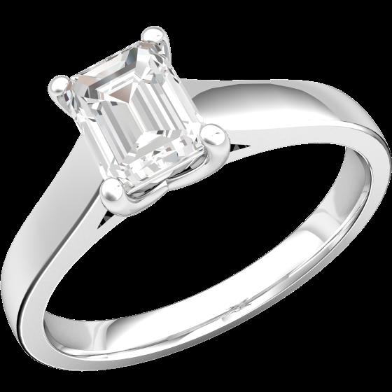 Solitär Verlobungsring für Dame in Platin mit einem Smaragd-Schliff Dimanten-img1