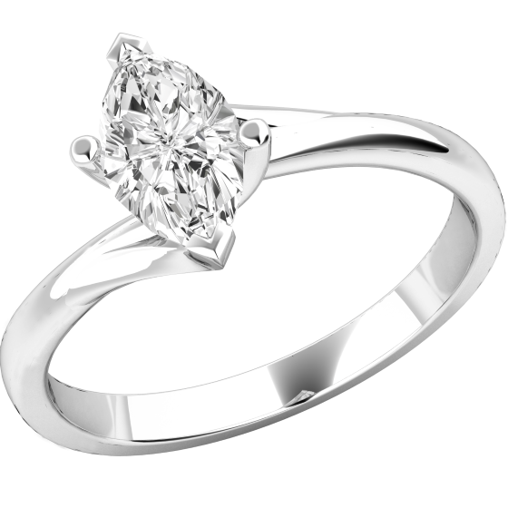 Solitär Verlobungsring für Dame in Platin mit einem Marquise Schliff Diamanten, Twist-Ring-img1