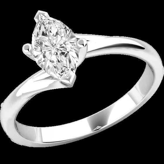 Solitär Verlobungsring für Dame in 18kt Weißgold mit einem Marquise Schliff Diamanten, Twist-Ring-img1