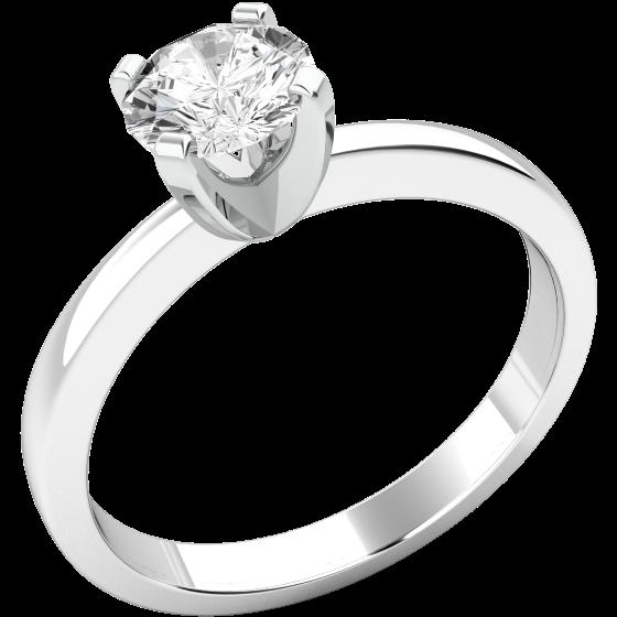Solitär Verlobungsring für Dame in 9kt Weißgold mit einem runden Brillantschliff Diamanten-img1