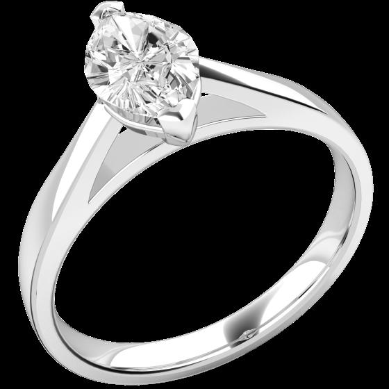 Solitär Verlobungsring für Dame in 18kt Weißgold mit einem Marquise Schliff Diamanten-img1