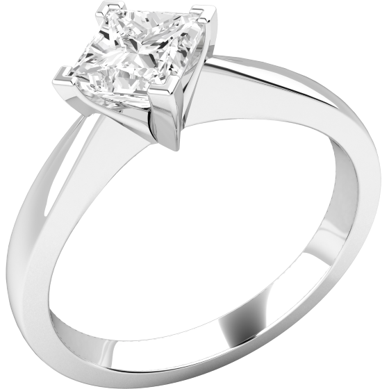 Solitär Verlobungsring für Dame in 18kt Weißgold mit einem Princess Schliff Diamanten-img1