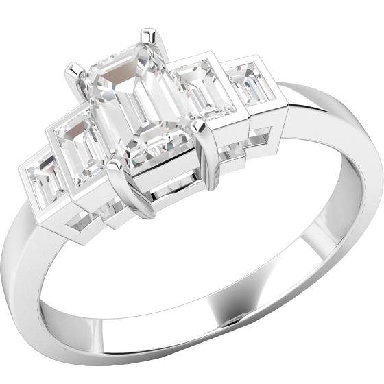 Art Deco Style Ring Single Stone Engagement With Shoulders For Women In Platinum An Emerald Cut Diamond And Baguette