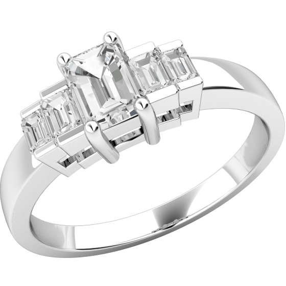 Inel de Logodna cu Mai Multe Diamante/Solitaire cu Diamante Mici pe Lateral Dama Platina cu un Diamant Taietura Smarald si Diamante Taietura Bagheta pe Margini-img1