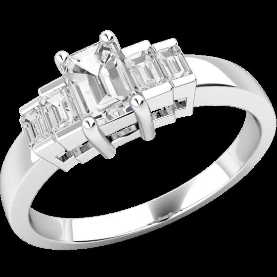 Inel de Logodna cu Mai Multe Diamante/Solitaire cu Diamante Mici pe Lateral Dama Aur Alb 18kt cu un Diamant Taietura Smarald si Diamante Taietura Bagheta pe Margini-img1