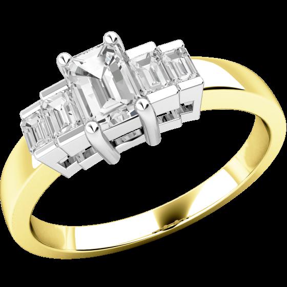 Art Deco Ring mit Diamanten für Dame in 18kt Gelbgold und Weißgold mit Smaragd Schliff zentralem Diamanten und Baguette Schultern-img1
