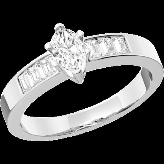 Cocktail Ring mit Diamanten für Dame in Platin mit einem Marquise Diamanten und Baguette Schultern-img1