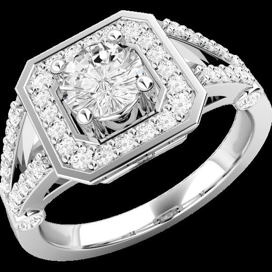 Cocktail Ring mit Diamanten/Verlobungsring im Cluster Stil für Dame in 18kt Weißgold mit einem runden Brillanten in der Mitte und runden Brillanten auf den Schultern-img1