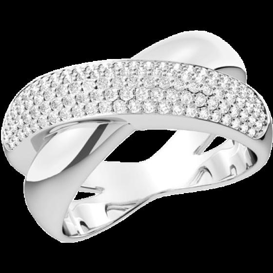 Cocktail Ring mit Diamanten für Dame in 18kt Weißgold mit 89 runden Brillanten in Pavefassung-img1