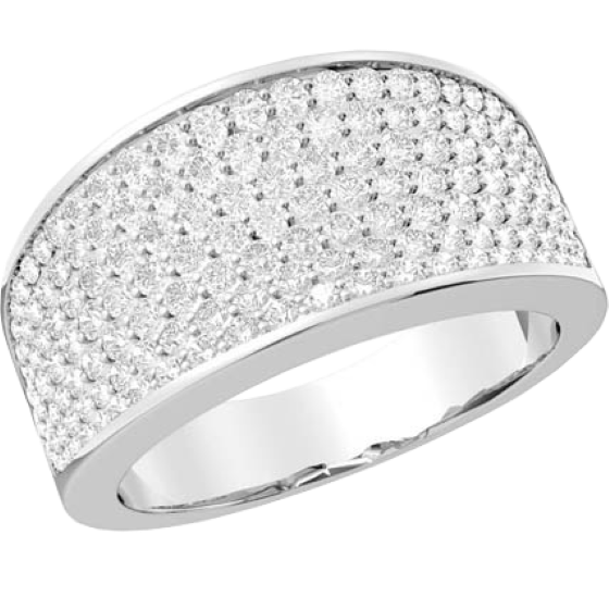 Inel Cocktail cu Diamante Dama Aur Alb 18kt cu Diamante Rotund Briliant in Setare Tip Pavata-img1