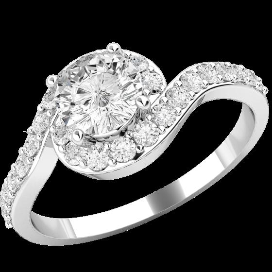 Inel de Logodna Solitaire cu Diamante Mici pe Lateral Dama Aur Alb 18kt cu Diamant Rotund Briliant in Centru si 26 Diamante Mici Rotunde Imprejur In Setare Gheare-img1