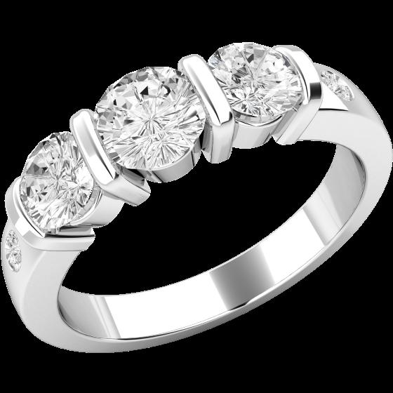Drei Steine Ring Verlobungsring Fuer Dame In Platin Mit 3 Diamanten