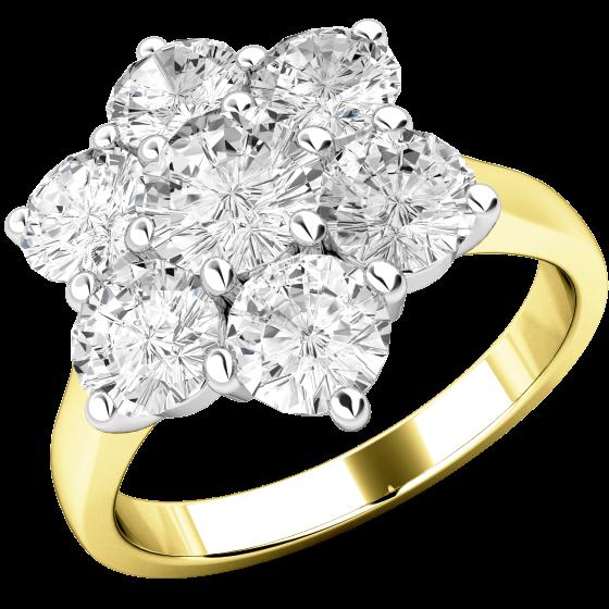 Verlobungsring im Cluster Stil für Dame in 18kt Gelbgold und Weißgold mit 7 runden Brillanten in Krappenfassung-img1