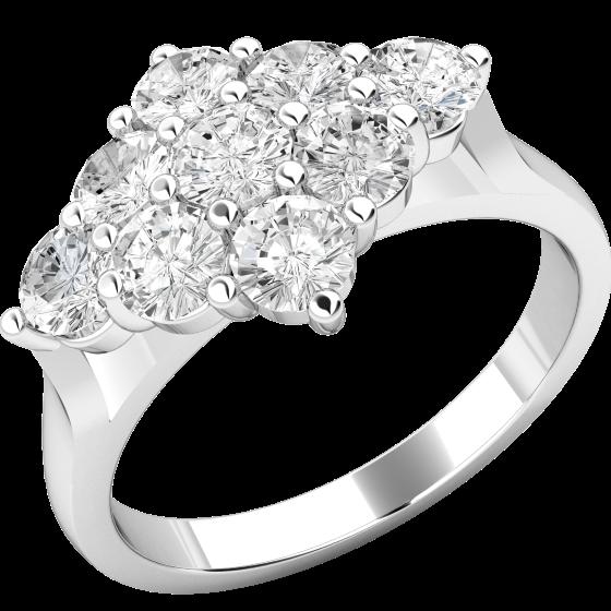 Inel de logodna cu Diamante Dama Aur Alb 18kt cu 9 Diamante in Setare Gheare-img1