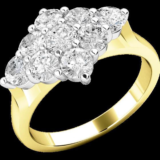 Verlobungsring im Cluster Stil für Dame in 18kt Gelbgold und Weißgold mit 9 runden Brillanten in Krappenfassung-img1