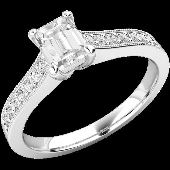 Solitär Verlobungsring mit Schultern für Dame in Platin mit einem Smaragd-Schliff Diamanten und 7 Brillanten auf beiden Schultern-img1