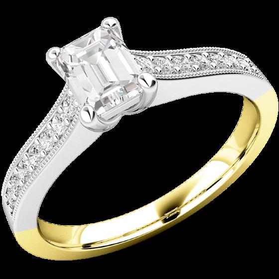 Solitär Verlobungsring mit Schultern für Dame in 18kt Gelbgold und Weißgold mit einem Smaragd-Schliff Diamanten und 7 Brillanten auf beiden Schultern-img1