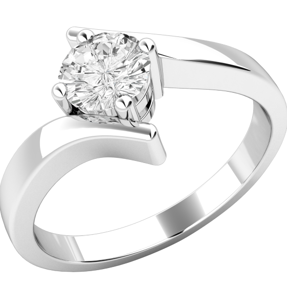 Inel de Logodna Solitaire Dama Platina cu un Diamant Rotund Briliant in Setare cu 4 Gheare, Stil Rasucit-img1