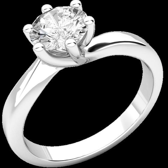 Solitär Verlobungsring für Dame in 18kt Weißgold mit einem runden Diamanten in 6er Krappenfassung-img1