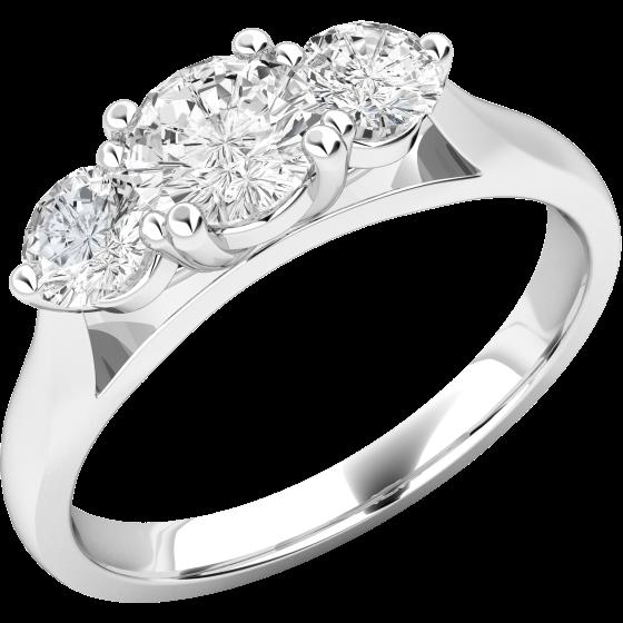 Drei-Steine Ring/Verlobungsring für Dame in Platin mit 3 runden Brillanten in Krappenfassung-img1