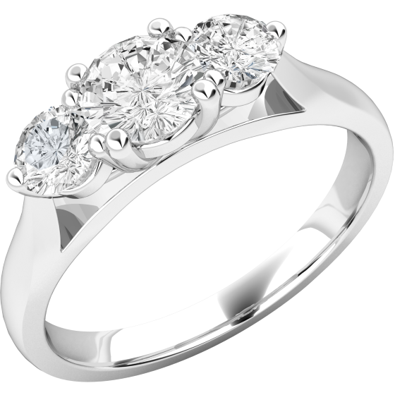 Drei-Steine Ring/Verlobungsring für Dame in 18kt Weißgold mit 3 runden Brillanten in Krappenfassung-img1