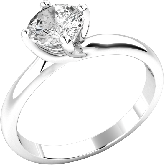 Single Stone Engagement Ring for Women in 9ct White Gold with a Round Brilliant Cut Diamond in a 4 claw Setting-img1