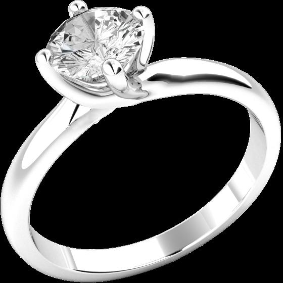 Solitär Verlobungsring für Dame in 9kt Weißgold mit einem runden Brillanten in 4er Krappenfassung-img1