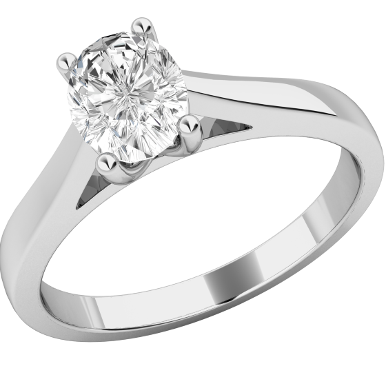 69606b315 Single Stone Engagement Ring for Women in Platinum with an Oval Diamond in  a 4-Claw Setting