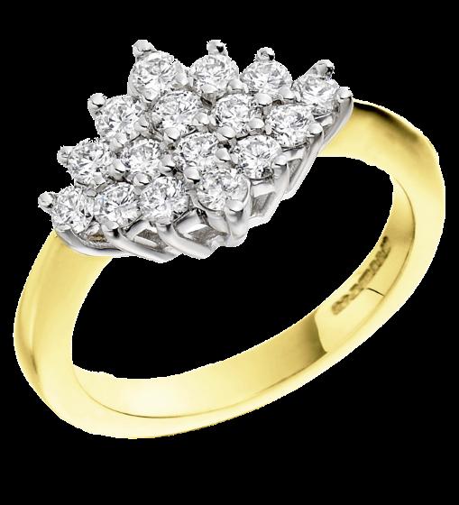 Inel de logodna cu Diamante Dama Aur Galben si Aur Alb 18kt cu 16 Diamante Rotund Briliant in Setare Gheare-img1