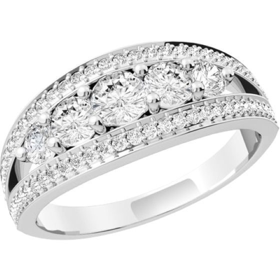 Multi Stone Engagement Ring For Women in 18ct White Gold with 5 Round Brilliant Cut Diamonds in the Centre and 29 Round Brilliant Cut Diamonds in Claw Setting on Either Side-img1