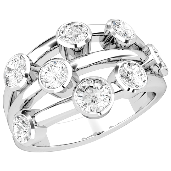 Cocktail Ring mit Diamanten für Dame in Platin mit 8 runden Brillant Schliff Diamanten in Zargenfassung-img1