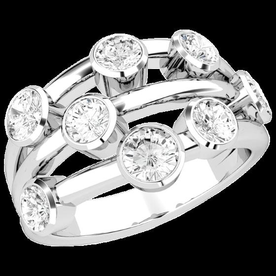 Cocktail Ring mit Diamanten für Dame in 18kt Weißgold mit 8 runden Brillant Schliff Diamanten in Zargenfassung-img1