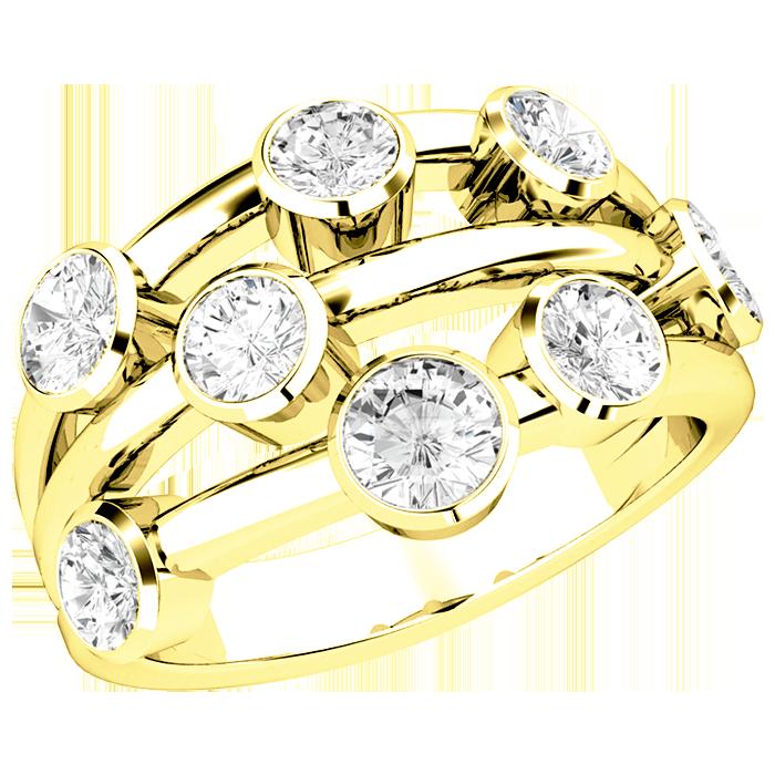 Inel Cocktail cu Diamante Dama Aur Galben 18kt cu 8 Diamante Rotund Briliant in Setare Rub-Over-img1