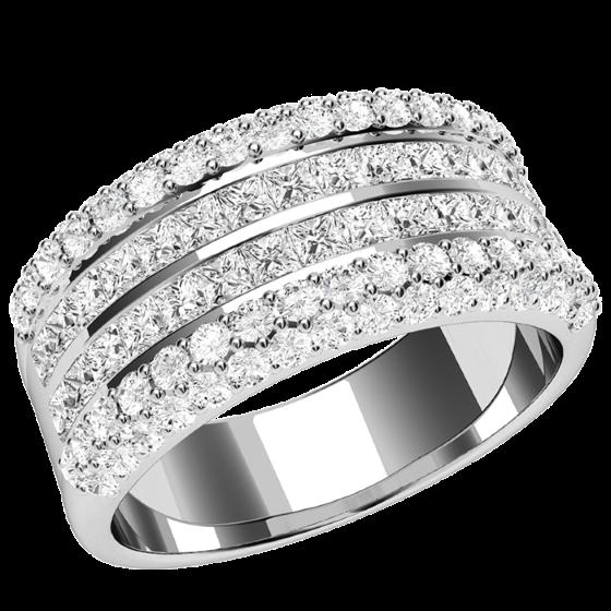 Cocktail Ring mit Diamanten für Dame in Platin mit 2 Reihen Princess Schliff Diamanten und runden Brillanten auf den Seiten-img1