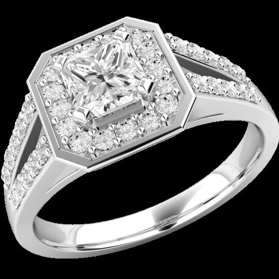 Inel de logodna cu Diamante Dama Platina cu Diamant Central Princess Inconjurat de Diamante Rotund Briliant Mici-img1