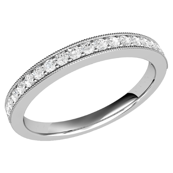 Half Eternity Ring/Diamond set wedding ring for women in 9ct white gold with 19 round brilliant cut diamonds in claw setting-img1