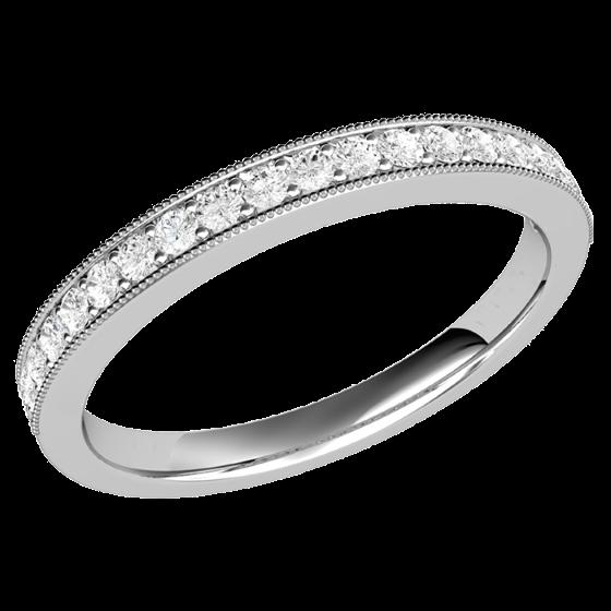 Halb Eternity Ring/Trauring mit Diamanten für Dame in 9kt Weißgold mit 19 runden Brillant Schliff Diamanten in Krappenfassung-img1