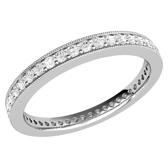 Full Eternity Ring/Diamond set wedding ring for women in palladium with round brilliant cut diamonds in a claw setting-img1