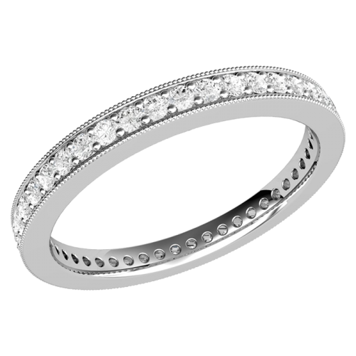 Verigheta cu Diamant/Inel Eternity Dama Aur Alb 18kt cu Diamante Rotund Briliant in Setare Gheare-img1