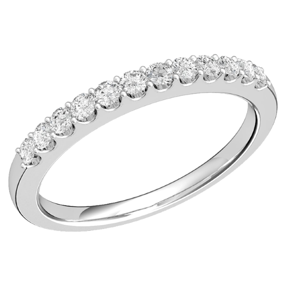 Inel semi eternity Dama Aur Alb, 18kt cu 12 Diamante Rotund Briliant in Setare Gheare-img1