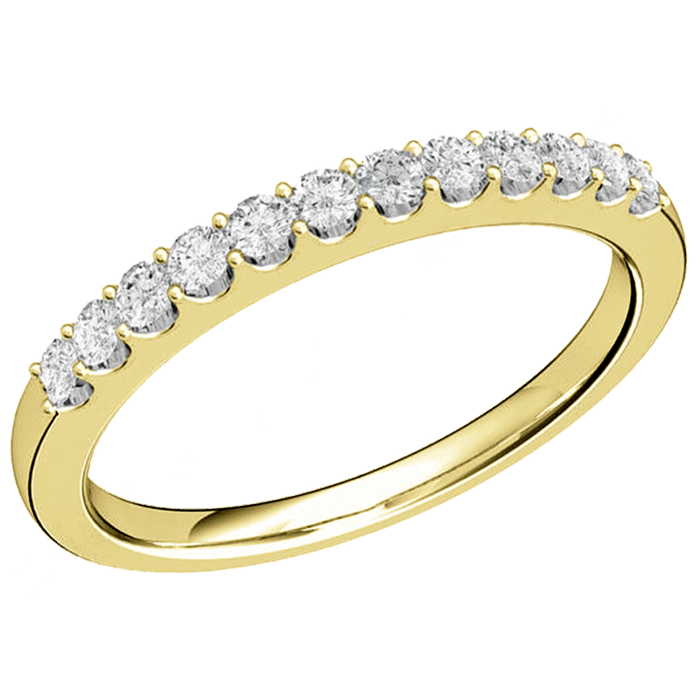 Inel semi eternity Dama Aur Galben 18kt cu 12 Diamante Rotund Briliant in Setare Gheare-img1